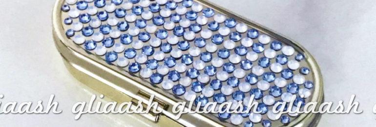 ブルー×ホワイトドット柄デコピルケース