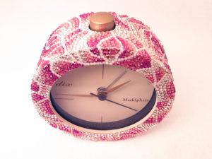 ローズ柄デコレーション目覚まし時計