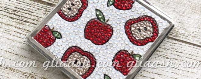 リンゴ柄りんご柄デコミラー