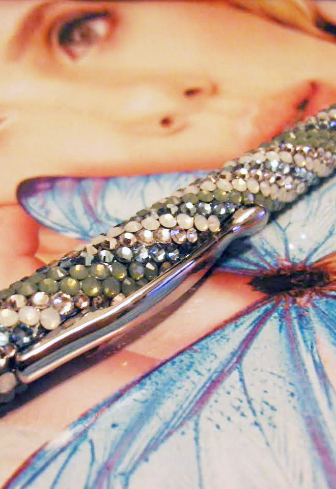 Tiffanyカラーのマルチストライプデコボールペン